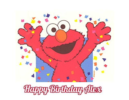 Sesame Street Elmo Edible Image Photo Cake Topper Sheet Personalized Custom Customized Birthday - 1/4 Sheet - 78097 (Edible Photo Cookies)