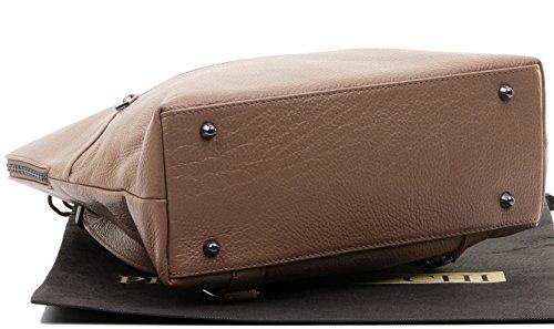 Leather Dark Italian Textured Includes Shoulder Top Storage Backpack Protective Branded Beige Bag Sacchi Handle Bag Primo Rucksack qZ5xRtTB