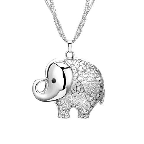 Elefante collar de boda ', Paz, amor' regalo de cumpleaños para mujer y niña, Blanco
