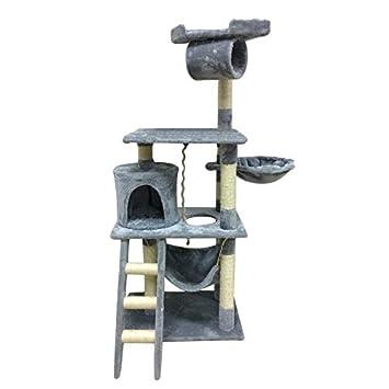 Olasea Árbol para Gatos Rascador con Nido Plataforma Cuerda de Juego 141 CM Gris: Amazon.es: Productos para mascotas