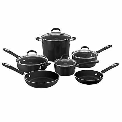 Cuisinart Greenchef Ceramic Non Stick Cookware 10 Piece Set Black