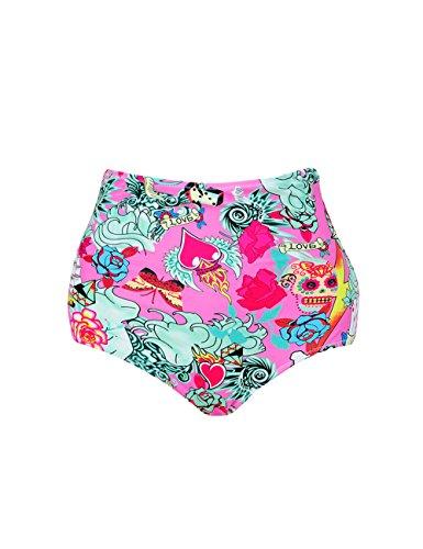 BIKITIQUE Women's Retro High Waisted Bikini Bottom Ruched Swim Short Tankinis - Pattern Bikini Bottom Swimsuit