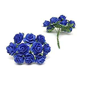 2cm Royal Blue Paper Flowers Paper Rose Artificial Flowers Fake Flowers Artificial Roses Paper Craft Flowers Paper Rose Flower Mulberry Paper Flowers, 25 Pieces 2