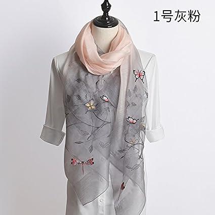 FLYRCX Foulard en Soie Naturelle dames brodé à usages multiples cadeaux de luxe  chers foulard 190cmx80cm 85a4979e675