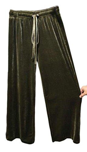 Fulok Women's Wide Leg Elastic Waist Drawstring Velour Palazzo Pants Army Green One-Size (Green Velour Pants)