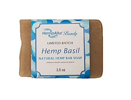HempAlta Beauty Eco-Friendly, Limited Batch, Handcrafted, Natural Exfoliating Hemp Bar Soap with Moisturizing Shea Butter for Face and Body, Herbal Hemp Basil Scent - 3.5 ()