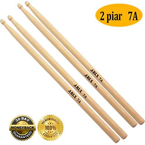 (7a Drum sticks Wood Tip 7a drumsticks Maple drum sticks for kids youth (2 Pair Maple 7A Drumstick))