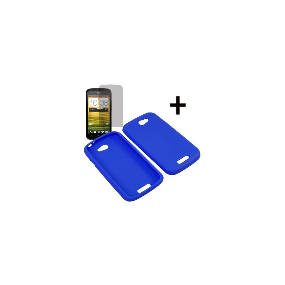 Eagle Soft Silicone Sleeve Gel Cover Skin Case for T Mobile HTC One S + Fitted Screen Protector  Blue