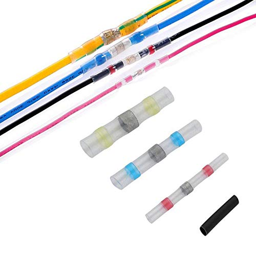 Adealink 100Pcs Heat Shrink Solder Sleeve Waterproof Wire Crimp Butt Terminals Connector With Storage Box