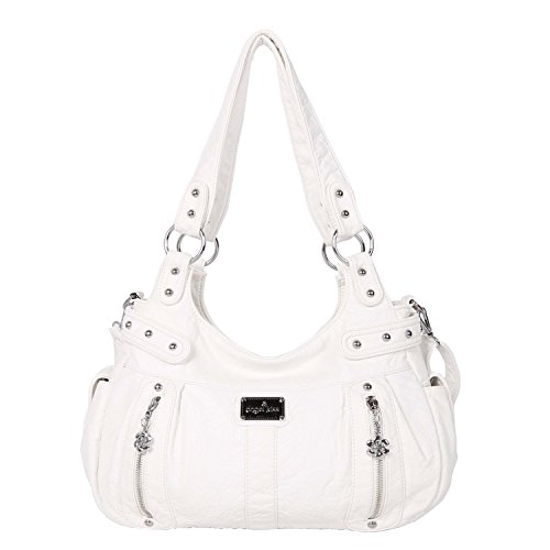 Angelkiss Design Handbags Womens Purse Feel Soft Lether Multiple Top Zipper Pockets Shoulder Bags Large … - White Angels Handbag