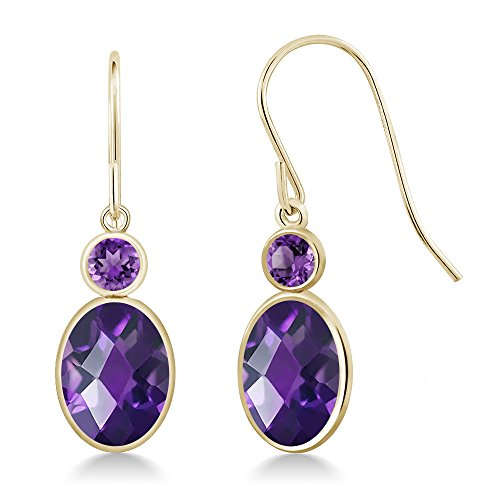 Gold Oval Amethyst Earrings - Gem Stone King 2.20 Ct Oval Checkerboard Purple Amethyst 14K Yellow Gold Earrings