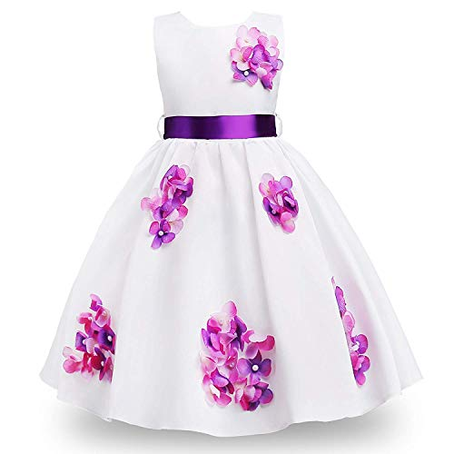 (MOREMOO Little Girl Beads Embroidered Flowers Pageant Party Dress(Purple 4)