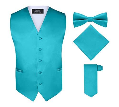 S.H. Churchill & Co. Men's 4 Piece Vest Set, with Bow Tie, Neck Tie & Pocket Hankie - Teal, S