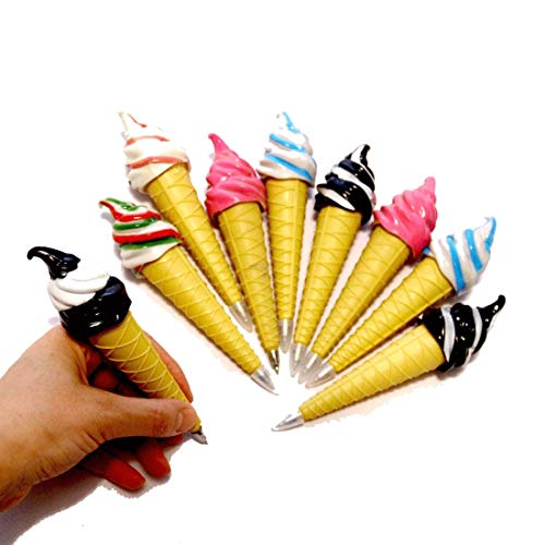 Assorted Magnetic Ice Cream Cone Writing Pens for Kids Pack of 12 - Cool Multicolor Pens for Kids Party Favor | Birthday Party Fun Novelty Pens 12 Pk. School Supplies for Ages 3 and Up