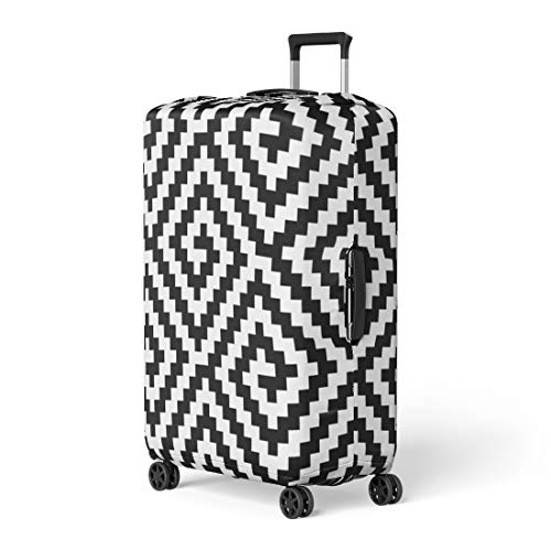 - Pinbeam Luggage Cover Traditional Tracery Black White Diagonal Zigzag Line Op Travel Suitcase Cover Protector Baggage Case Fits 26-28 inches