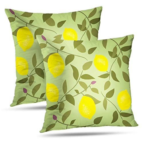 KJONG Chartreuse Decorative Pillow Covers, 18 x 18 inch Set of 2 Square Pillow Cushion Cover Seamless Pattern with Lemon Vintage Style Backdrop for Sofa Bedroom Living Room(Two Sides Print)