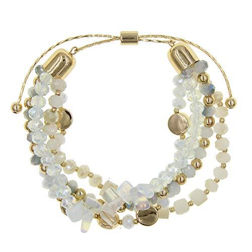 YUJIAXU Adjustable Glass Stone Multistrand Layered Bracelet, Semiprecious Stone Beaded Bracelet Set White