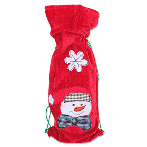 Snowman Velvet - Geschenke mit Namen 'Gifts Name 1088Bottle Bag Snowman 36cm Plush Red Velvet Bottle Bag–37x 15x 0.5cm