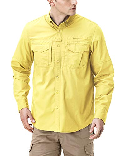 CQR Men's Outdoor PFG UPF 50+ Long-Sleeve Breathable Shirt, Duratex(tos421) - Yellow, X-Large