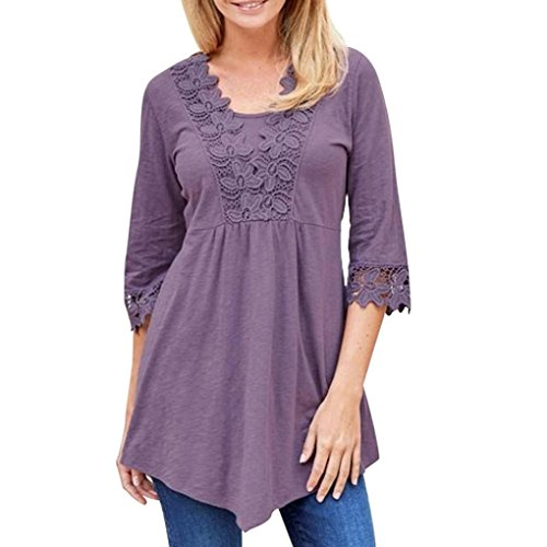 Hot Sale! Clearance! Plus Size! Todaies Women Spring Casual Basic Solid Laciness Stitching Half Sleeve T-shirt Top Blouse (2XL, Purple) - Sale Today