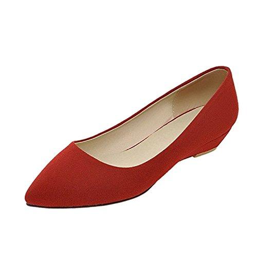 Nonbrand Damen Absatz Ballerinas Rot