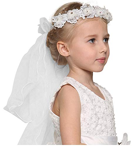 Bienvenu First Communion Flower Girl Bow Embroidered Wedding Veil Two Layers,White_3
