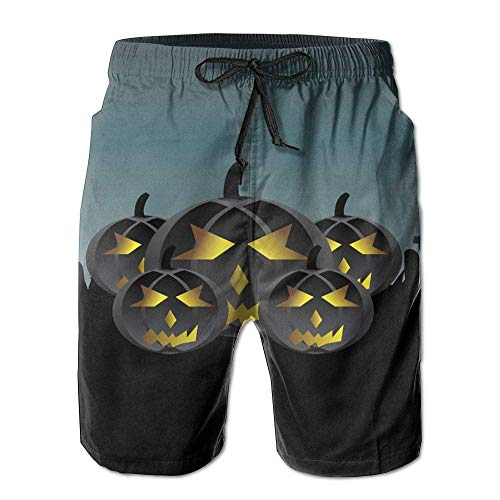 Beach Yoga Pants, Halloween Pumpkin Miami Cute Shorts for Men Boys, Outdoor Short Pants Beach Accessories, White -