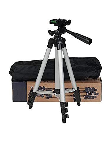 M V Creation 3110 Smart Aluminium Adjustable Portable and Foldable Tripod Stand Clip and Camera Holder with Metal Quality