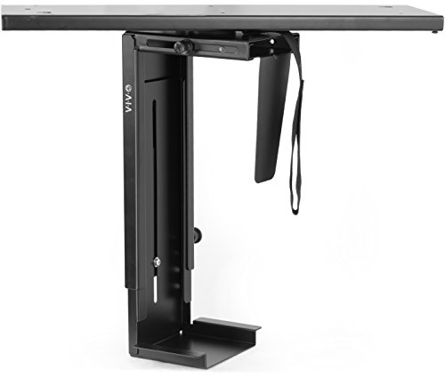 VIVO Black Adjustable Under-Desk Slider PC Mount | Computer Case Holder with Pullout Slide Track and 360° Swivel (MOUNT-PC01D) - Cpu Mount