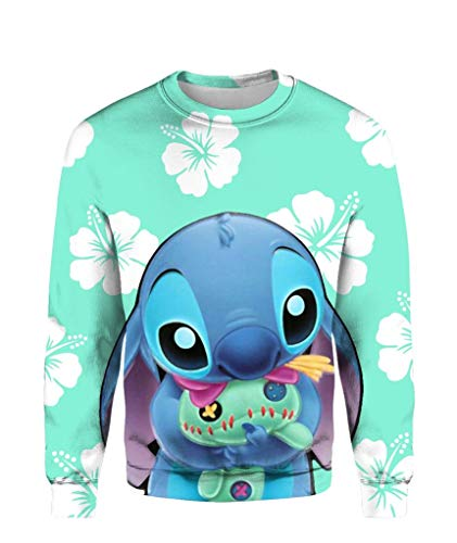 Cute Blue Stitch 3D All Over Printed - Funny Vintage Trending Awesome Shirt Unisex Style (Sweatshirt, ()