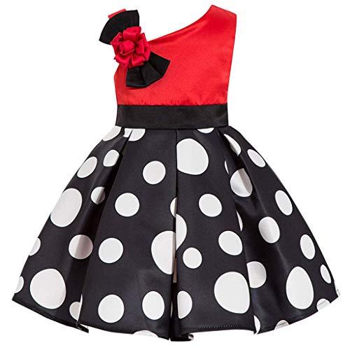 (DreamHigh Kids Skirts Toddlers Polka Dot Girls One Off Shoulder Dress Red/Black Size 2T)