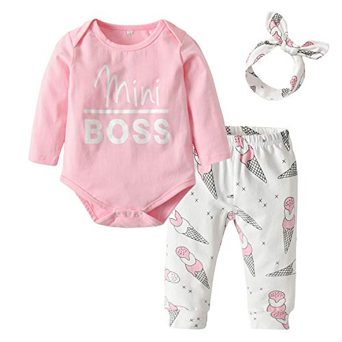 Zukuco Baby Girls Clothes Letter Romper Mini Boss Bodysuit Ice Cream Print Pants Headband Outfit Set (12-18 Months, Pink)