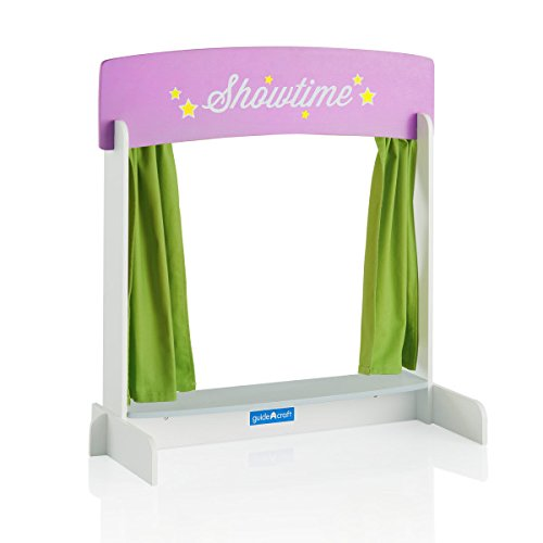 Guidecraft Showtime Tabletop Theater - Children's Dramatic Play or Puppet Stage with Marquis Signs, Curtains and Chalkboard