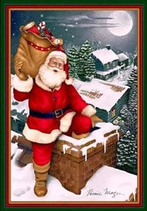 Santa up on the House Top Emerald 5 4 X 7 8