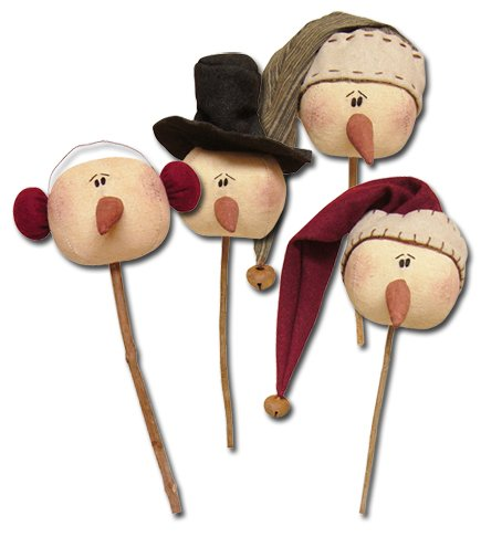 Honey and Me Christmas Primitive Country Whimsy Rolly Polly Snowman Wand Set -