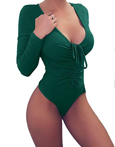 Lady Bodycon Fit Soft Rompers for Women Long Sleeve Sexy Bodysuit Leotard Green M