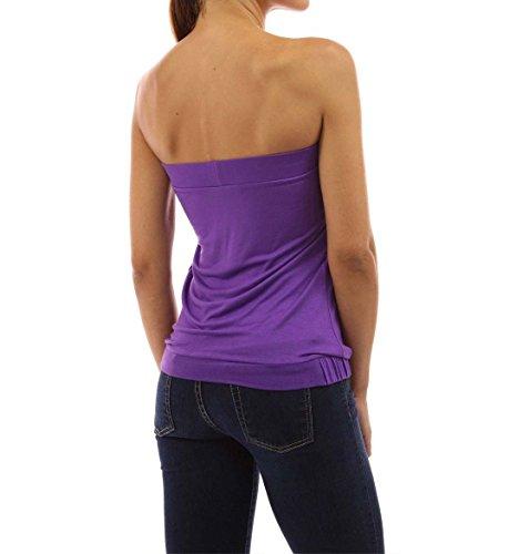 Nu Acvip Sans Eté Violet Haut Epaule Couleurs Plissé Femme 4 T shirt Bretelle Sexy Top qRPar0wq