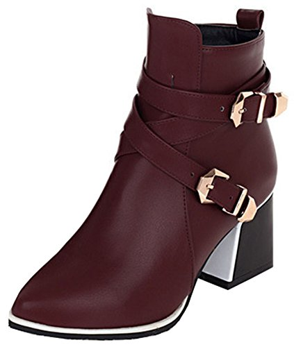 Easemax Women's Unique Mid Chunky Heel Pointy Toe Buckle Short Ankle High Boots With Side Zipper Wine Red Zs7JHvnJH