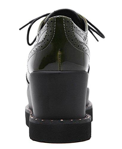 Idifu Donna Casual Punta Tonda Basso Top Mid Zeppa Piattaforma Scarpe Stringate Sneakers Verde Militare