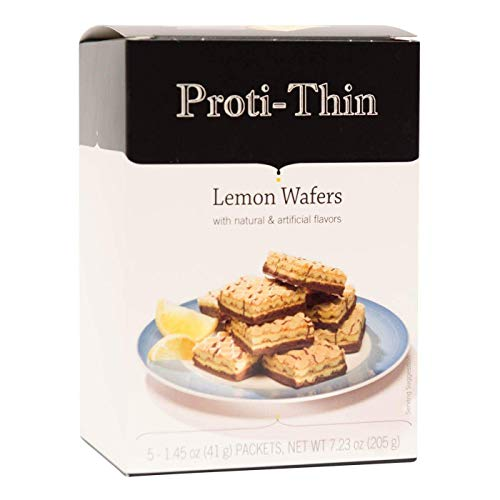 Proti-Thin High Protein Wafer Squares - Lemon - 5 Servings - Diet Wafer Bars - Healthy Snack - Low Sugar - Low Carb - Aspartame Free