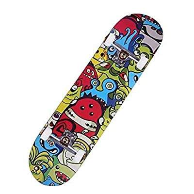 ENYI Skateboard Beginner Professional Board Boys and Girls Adolescent Adult Children Adult Short Board Brush Street Four-Wheel Double Warped Skateboard : Sports & Outdoors