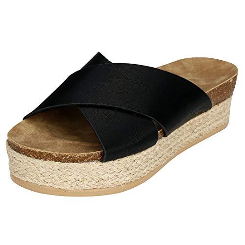 Women\'s Platform Espadrilles Criss Cross Slide-on Open Toe Faux Leather Studded Summer Sandals (Black,7 M US)