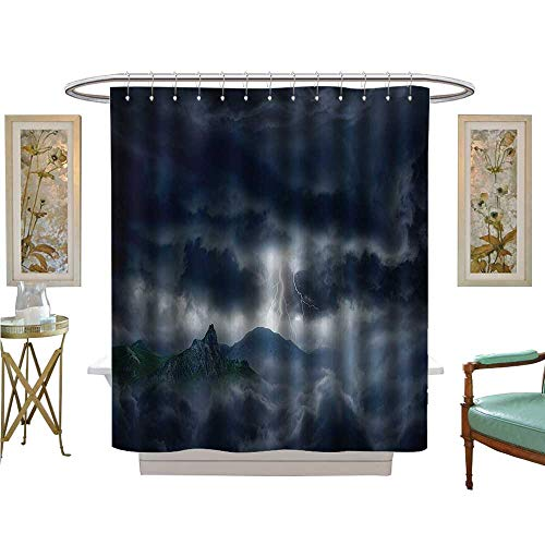 PRUNUS Shower Curtains 3D Digital Printing Bright Flash in Dark Stormy Sky Over Mountains Like Ficti ntastic Powerful Bathroom Set with Hooks
