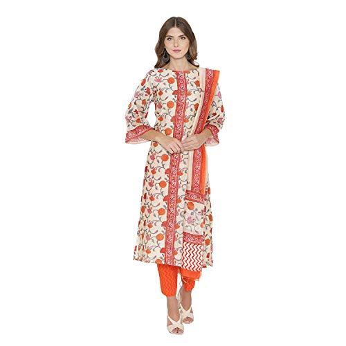 - PinkShink Orange Pure Chanderi Kurta Trousers Dupatta Set (XL) d296xl