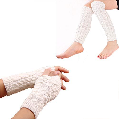 Yoga Socks for Women Girls 80s Workout Socks Toeless Training Dance Open Heel Leg Warmers (Leg Warmer+Fingerless ()