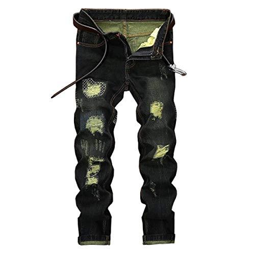Dritta Jeans Moda Cinturino Vintage Pantaloni Senza Comodo Fori Fit Strappati Di Uomo Media Slim Denim Battercake Nero Vita UtAAq