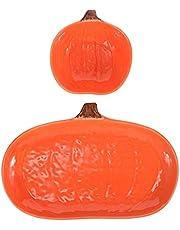 Yardwe 2pcs Ceramic Pumpkin Bowl Pumpkin Tray Serving Dishes Plates Baby Food Bowls Children Dinner Plate for Dessert Snacks Appetizer Salad Fruit