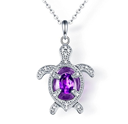 - ASAA Jewelry S925 Sterling Silver Created Amethyst Turtle Pendant Necklace 18