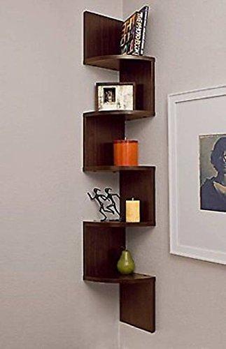 Tamjeed Art MDF Wooden Fancy Zigzag Wall Mounted Corner Shelf Shelves Books Racks Black   Green