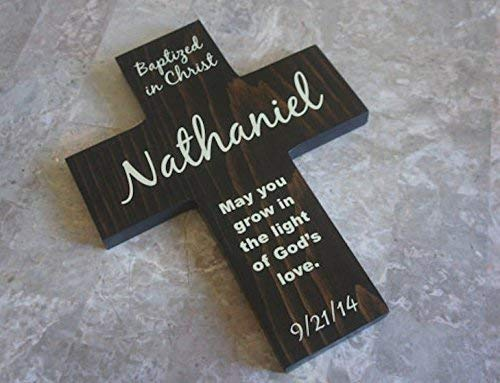 Baptized in Christ - Personalized Pine Wood Rustic Cross with Date with (May you grow in the light of God's love.) gift for boy or girl.